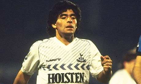 Diego Maradona of Tottenham takes a break during the Ardiles Testimonial match against Inter
