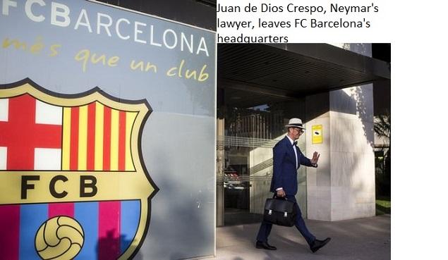 Juan de Dios Crespo, Neymar's lawyer, leaves FC Barcelona's headquarters